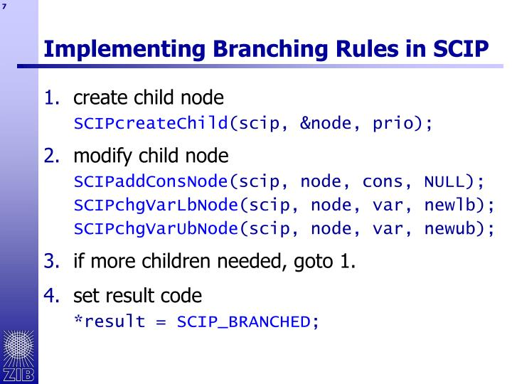 Implementing Branching Rules in SCIP
