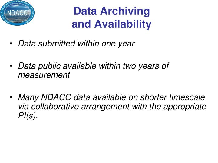 Data Archiving and Availability