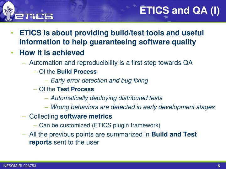 ETICS and QA (I)