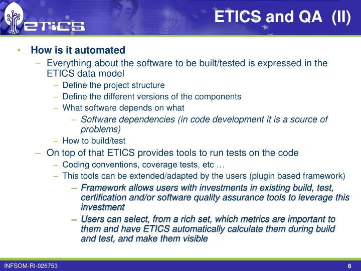 ETICS and QA  (II)