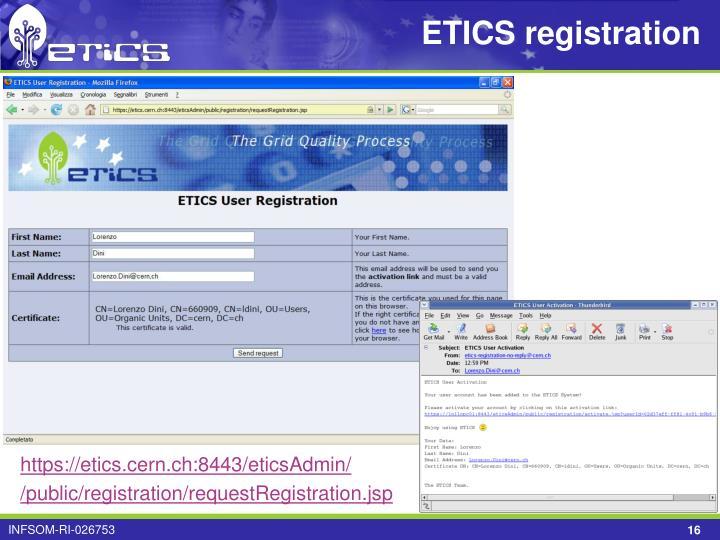 ETICS registration