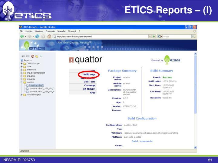 ETICS Reports – (I)