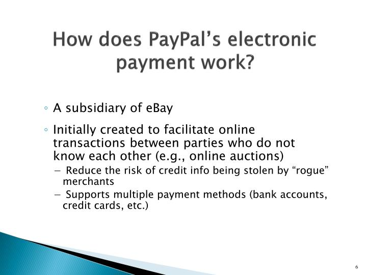 How does PayPal's electronic payment work?