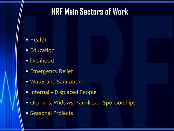 HRF Main Sectors of Work