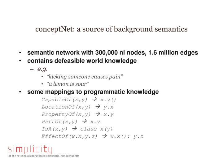 conceptNet: a source of background semantics