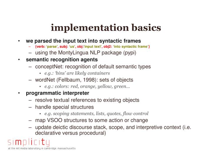implementation basics