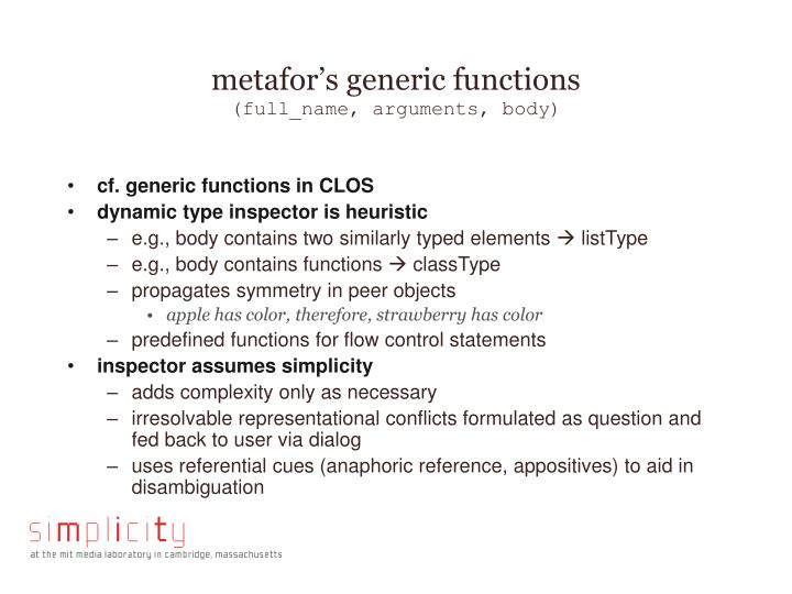 metafor's generic functions