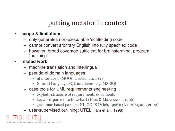 putting metafor in context