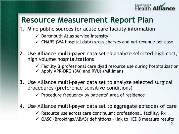 Resource Measurement Report Plan