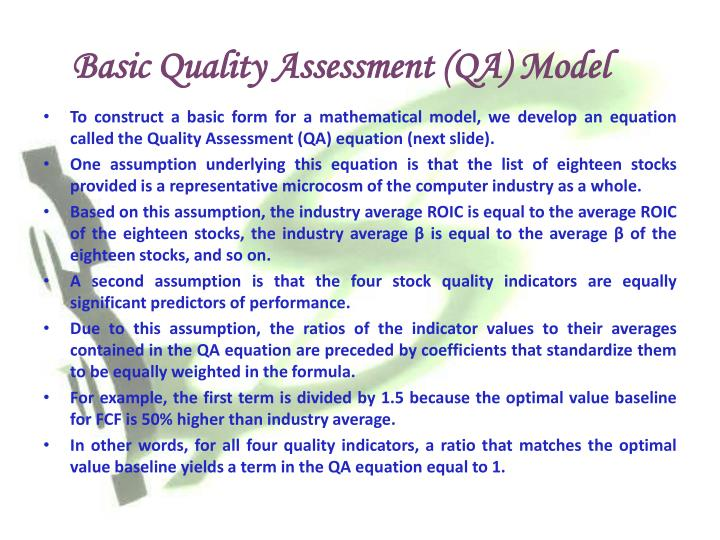 Basic Quality Assessment (QA) Model