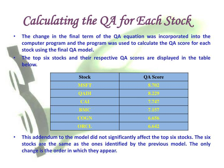 Calculating the QA for Each Stock