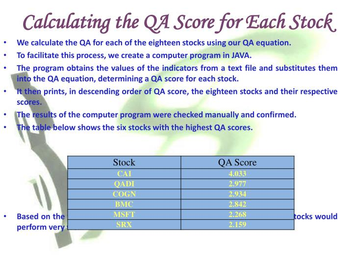 Calculating the QA Score for Each Stock