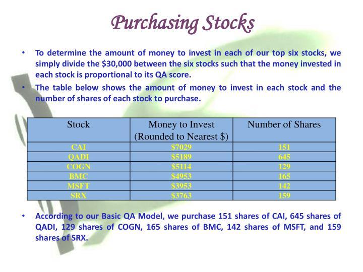 Purchasing Stocks