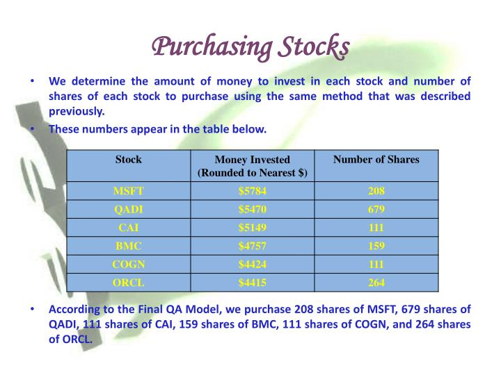 Purchasing Stocks