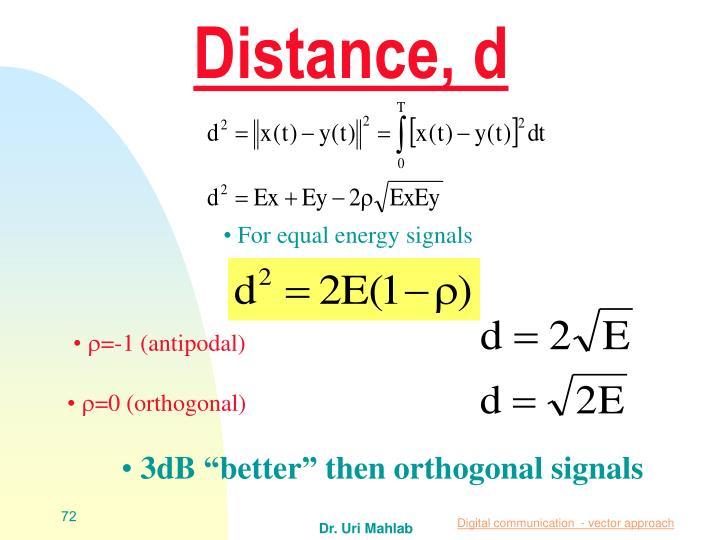 Distance, d