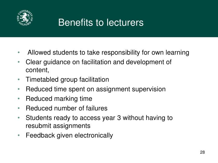 Benefits to lecturers