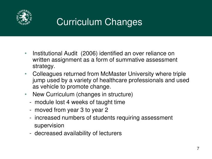 Curriculum Changes