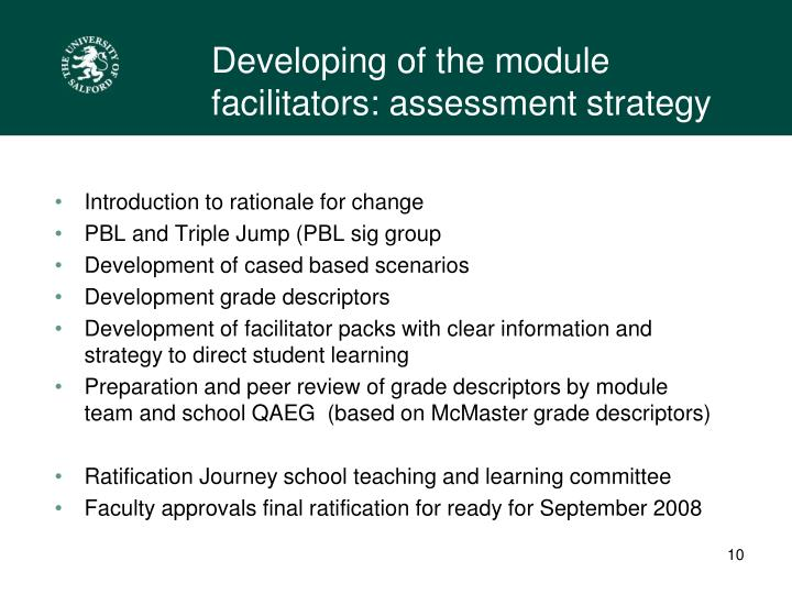 Developing of the module facilitators: assessment strategy