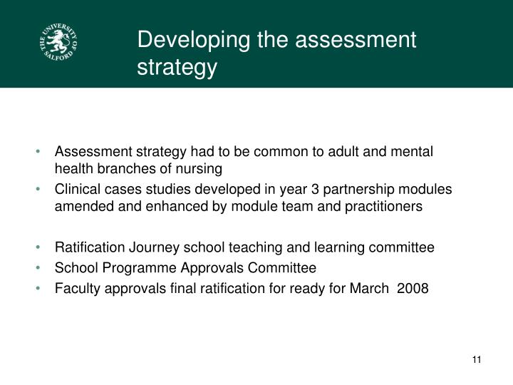 Developing the assessment strategy