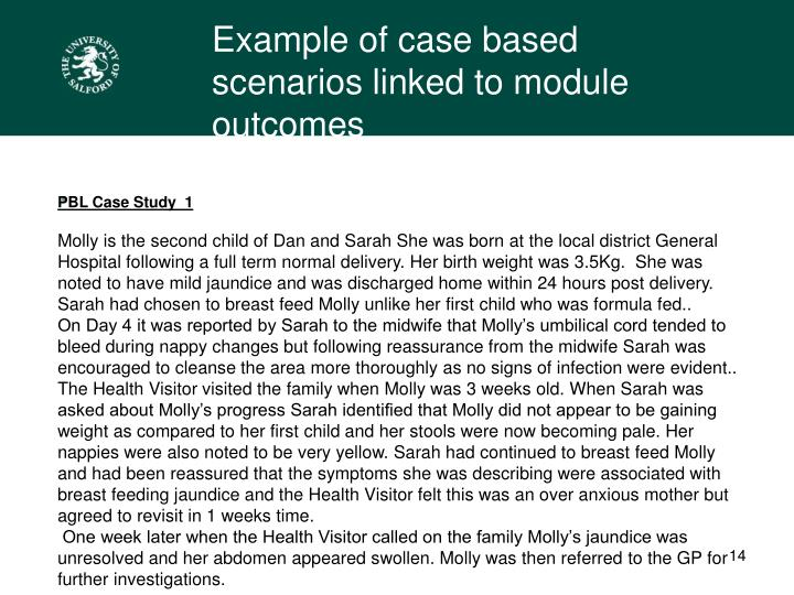 Example of case based scenarios linked to module outcomes