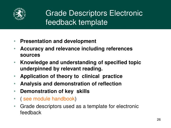 Grade Descriptors Electronic feedback template
