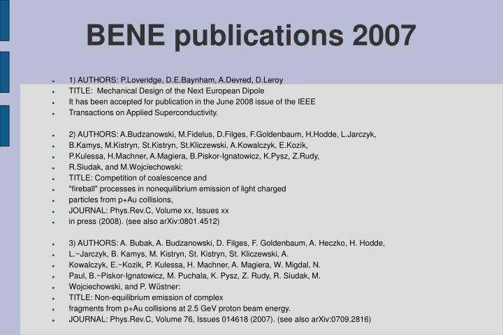 BENE publications 2007