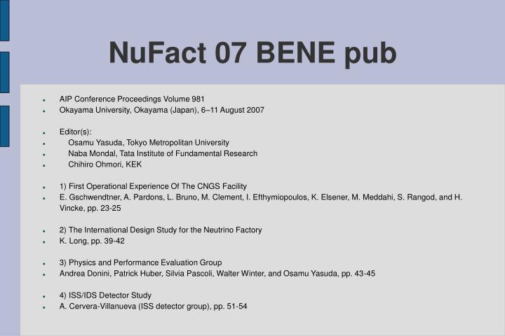 NuFact 07 BENE pub