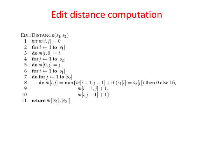 Edit distance computation