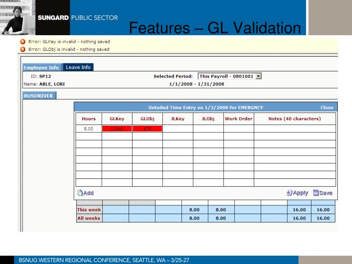 Features – GL Validation
