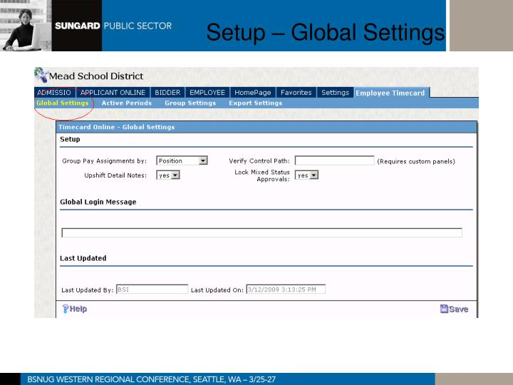 Setup – Global Settings