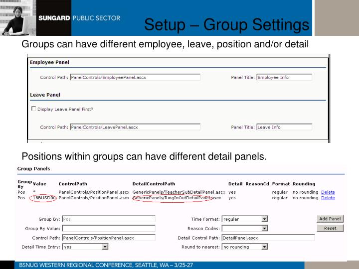 Setup – Group Settings