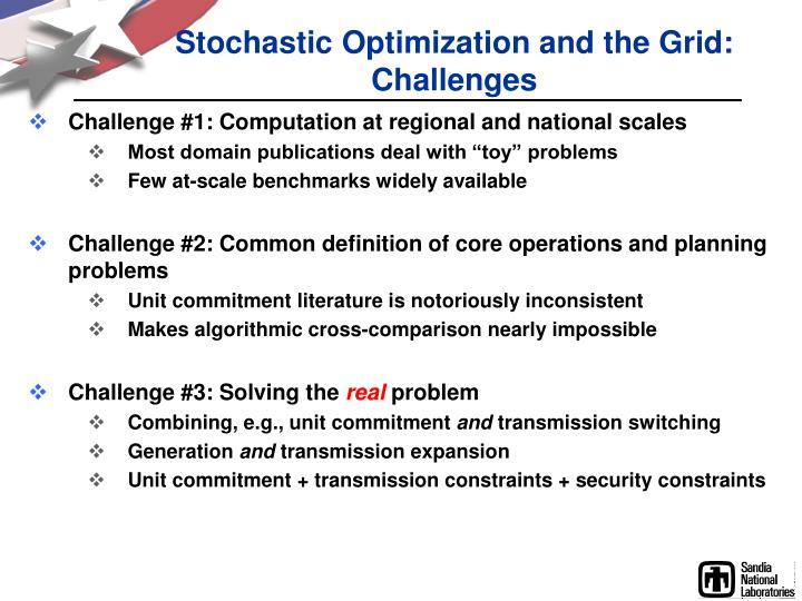 Stochastic Optimization and the Grid: Challenges