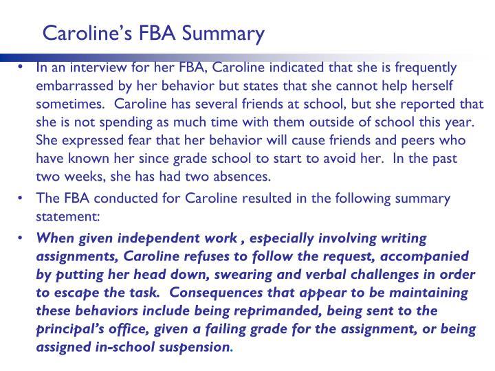 Caroline's FBA Summary