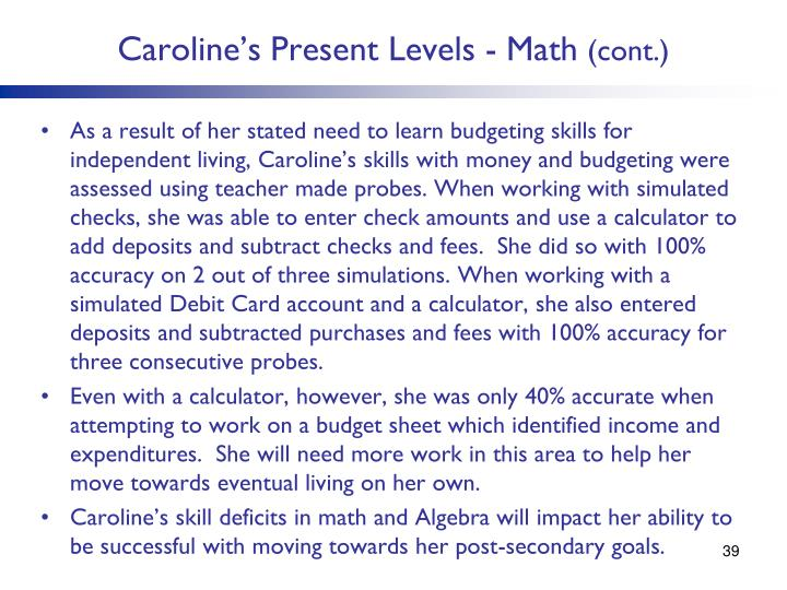 Caroline's Present Levels - Math