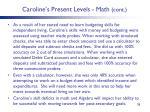 caroline s present levels math cont