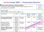 caroline sample grid postsecondary education