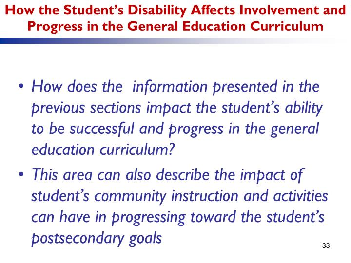 How the Student's Disability Affects Involvement and Progress in the General Education Curriculum