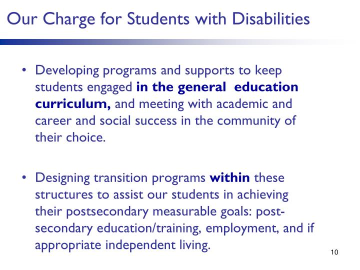 Our Charge for Students with Disabilities