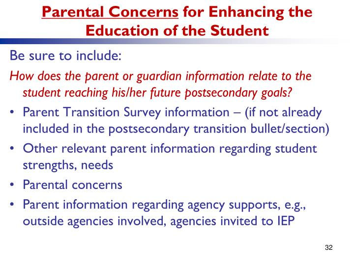 Parental Concerns