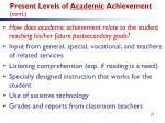 present levels of academic achievement cont