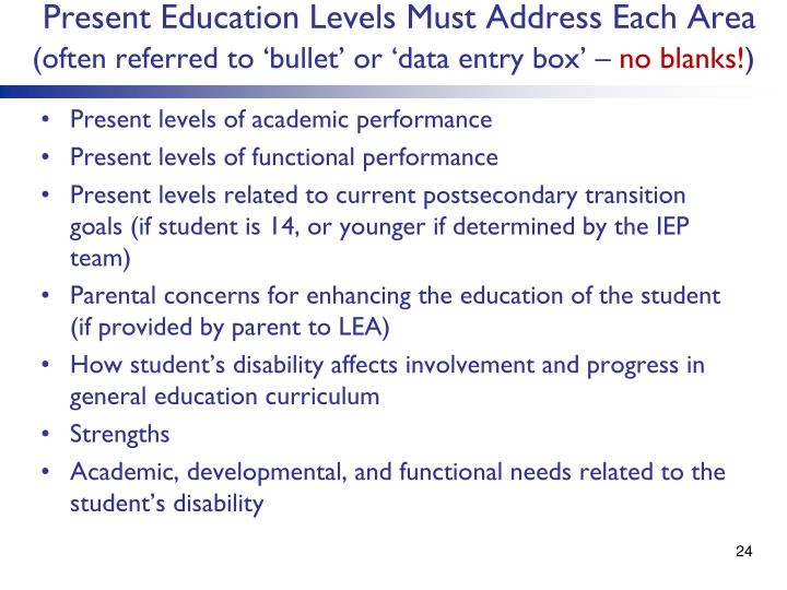 Present Education Levels Must Address Each Area