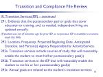 transition and compliance file review