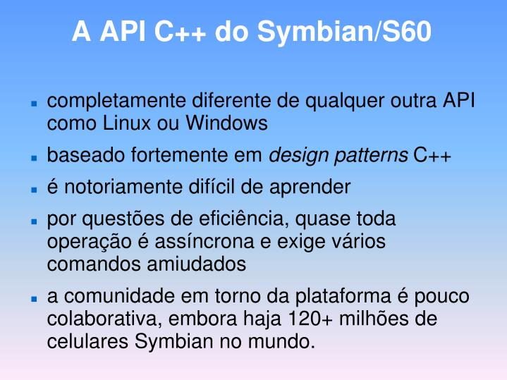 A API C++ do Symbian/S60