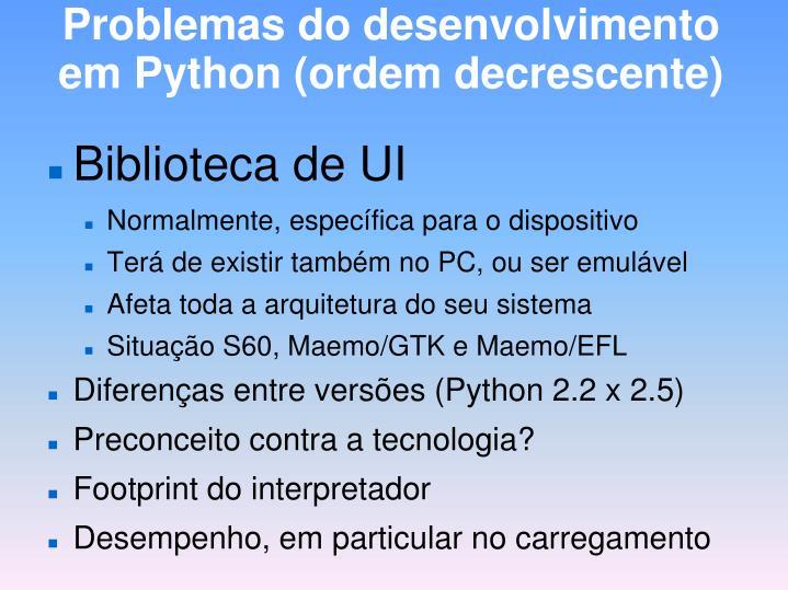 Problemas do desenvolvimento em Python (ordem decrescente)
