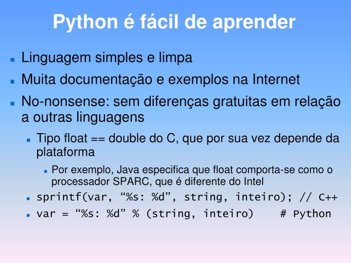 Python é fácil de aprender