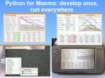 python for maemo develop once run everywhere