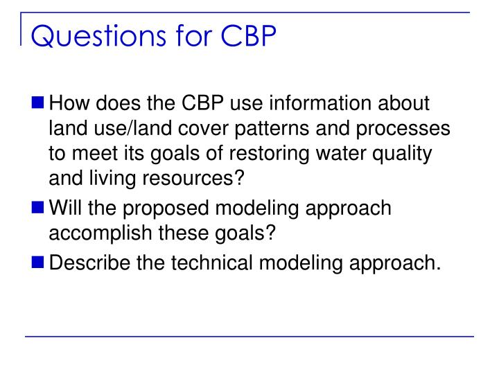 Questions for CBP
