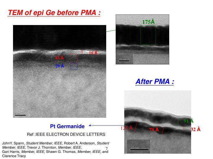 TEM of epi Ge before PMA :