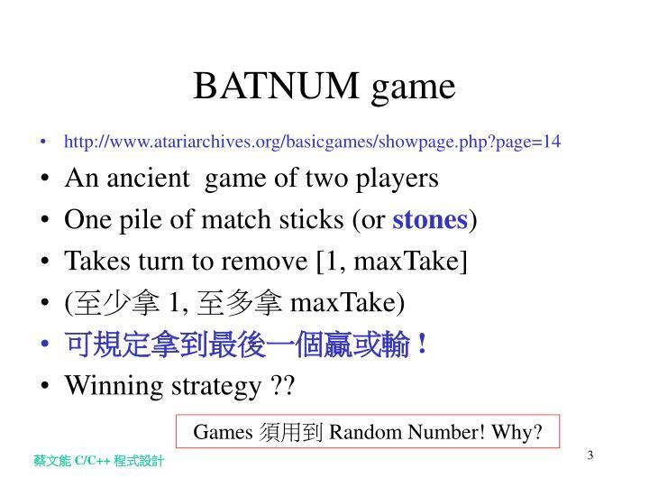 BATNUM game