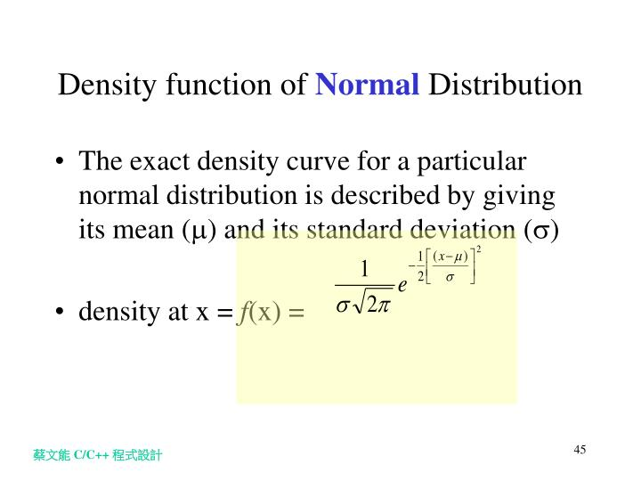 Density function of